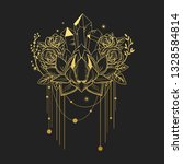 golden lotus  roses  crystals...   Shutterstock .eps vector #1328584814
