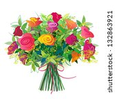 bouquet of fresh roses tied... | Shutterstock . vector #132863921