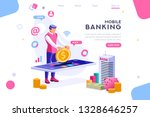 bank holding coin on smartphone.... | Shutterstock .eps vector #1328646257