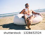 handsome man in sunglasses and... | Shutterstock . vector #1328652524