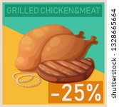 grilled chicken and meat... | Shutterstock .eps vector #1328665664