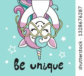 beautiful unicorn with glasses... | Shutterstock .eps vector #1328676287