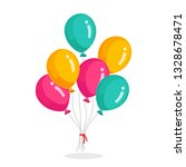 bunch of helium balloon  flying ... | Shutterstock .eps vector #1328678471
