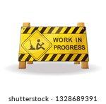 work in progress yellow warning ... | Shutterstock .eps vector #1328689391