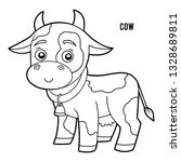 coloring book for children  cow | Shutterstock .eps vector #1328689811