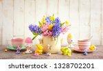 easter breakfast table with tea ... | Shutterstock . vector #1328702201