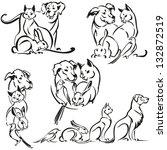 dog  cat  rabbit and bird brush ... | Shutterstock .eps vector #132872519