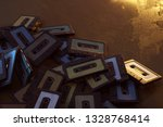 pile of old audio cassettes  3d ... | Shutterstock . vector #1328768414