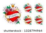 set of classic tattoo heart... | Shutterstock .eps vector #1328794964