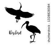 Silhouettes Of Ibis. Set Of...
