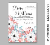 anemone wedding invitation card ... | Shutterstock .eps vector #1328832797