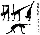 vector yoga icons. silhouettes... | Shutterstock .eps vector #1328854781
