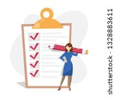 woman with pencil standing at... | Shutterstock .eps vector #1328883611