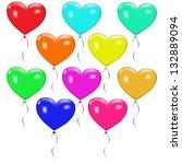 ten multicolored balloons in... | Shutterstock .eps vector #132889094