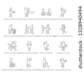 set of 16 thin linear icons... | Shutterstock .eps vector #1328940494