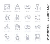 set of 16 thin linear icons... | Shutterstock .eps vector #1328945234