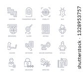 set of 16 thin linear icons such as file, infected, unlocked, add, attack, secure shopping, keyword from internet security collection on white background, outline sign icons or symbols