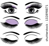 vector eyes with long lashes...   Shutterstock .eps vector #132898871
