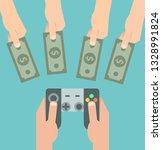 hand holding game controller ... | Shutterstock .eps vector #1328991824
