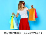 pretty woman in a red skirt and ... | Shutterstock . vector #1328996141