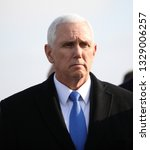 Small photo of Poland, Auschwitz-Birkenau - 15 February 2019: current vice president of the United States of America Mike Pence (Michael Richard Pence) during visit in german concentration camp Auschwitz-Birkenau