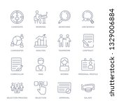 set of 16 thin linear icons... | Shutterstock .eps vector #1329006884