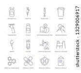 set of 16 thin linear icons... | Shutterstock .eps vector #1329006917