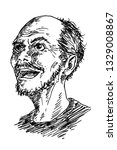 hand drawn portrait of an old...   Shutterstock . vector #1329008867
