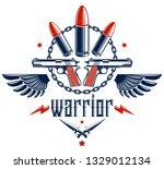 bullets and guns vector emblem... | Shutterstock .eps vector #1329012134