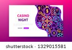 casino night neon landing page. ... | Shutterstock .eps vector #1329015581