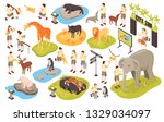 isometric zoo set with isolated ... | Shutterstock .eps vector #1329034097