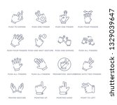 set of 16 thin linear icons... | Shutterstock .eps vector #1329039647