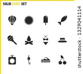 summer icons set with hook with ...