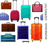 pattern with suitcases and bags.... | Shutterstock .eps vector #1329041747