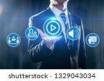 video marketing advertising... | Shutterstock . vector #1329043034