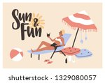 postcard template with woman... | Shutterstock .eps vector #1329080057
