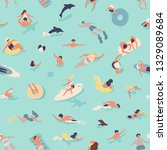 summer seamless pattern with... | Shutterstock .eps vector #1329089684