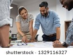 team of multiethnic architects... | Shutterstock . vector #1329116327