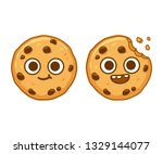 cute cartoon chocolate chip... | Shutterstock .eps vector #1329144077