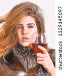 girl fashion makeup wear fur...   Shutterstock . vector #1329145097