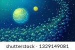 asteroid belt in space. cosmic... | Shutterstock .eps vector #1329149081