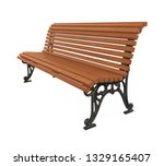 wooden park bench isolated. 3d... | Shutterstock . vector #1329165407