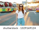redhead stylish young hipster... | Shutterstock . vector #1329169124