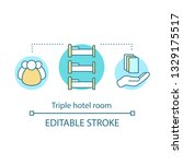 triple hotel room concept icon. ... | Shutterstock .eps vector #1329175517