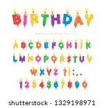 birthday candles colorful font... | Shutterstock .eps vector #1329198971