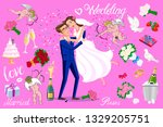 just married couple with hearts ... | Shutterstock .eps vector #1329205751
