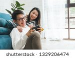 Small photo of Asian couple man and woman talking working spend time together at home, Asian couple family lifestyle concept