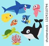 illustration sea animal cartoon ... | Shutterstock .eps vector #1329210794