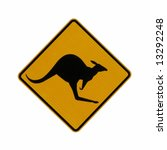 Kangaroo Crossing Sign Isolated