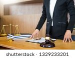 lawyer judge reading documents... | Shutterstock . vector #1329233201